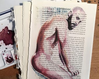 Seated Muscular Hunk with Sexy Beard on Vintage Book Paper by Artist Brenden Sanborn