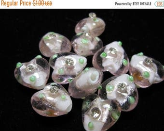 SUMMER CLEARANCE SALE - Pink Glass Hearts with Little Rhinestones - 6 pcs