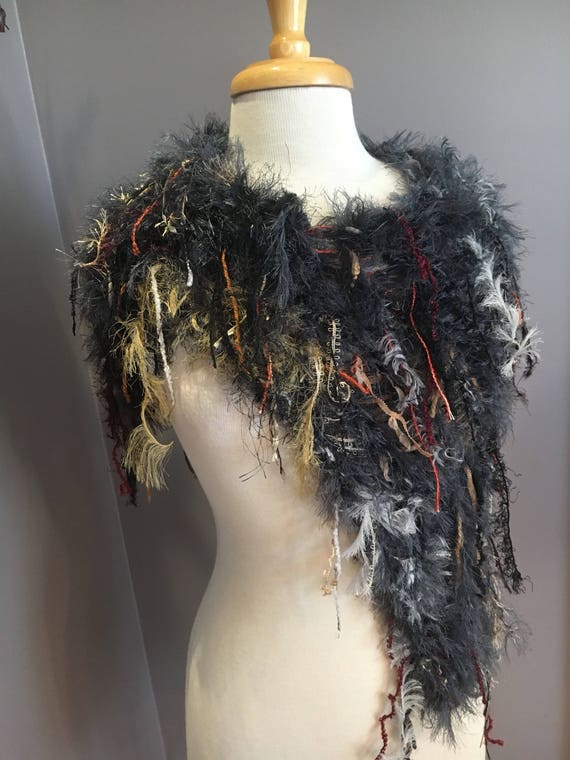 Dumpster Diva Fringed Poncho with charcoal grey fur base, Offset Fringed Knit Poncho, 'Embers', grey rust maroon, capulet, shoulder wrap