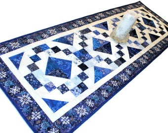 Large Christmas Quilted Table Runner, Blue White and Silver Table Topper, Jewel Box Table Runner, Quiltsy Handmade Patchwork Christmas Quilt