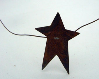 "Primitive Garland Rusty Metal Tin 9 Star 6 ft x 2"" Garland Country Chic Home Decor"