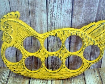 Rooster Yellow Egg Holder Cast Iron Shabby Chic Farmhouse Kitchen Display for Eggs