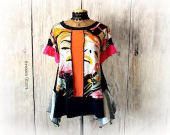 Colorful Tunic Women's Eco Clothes Lagenlook Shirt Bohemian Artsy Top Boho Clothing Recycled T-Shirt Stretchy Shirt L XL 'CARRIE'