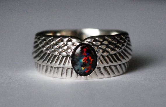 Sterling Silver and Black Opal Winged Egg Ring