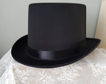 Black Top Hat - Black Gothic Hat Tophat black Hat size 57 or 59