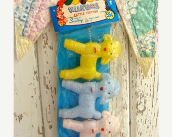 ONSALE 1950 Kitsch Vintage Pink, Blue and Yellow Lambs Adorable Rattles NIP