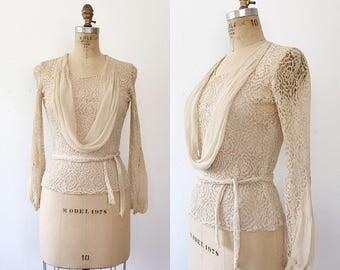 Vionnet lace blouse / 1930s lace blouse / vintage lace blouse