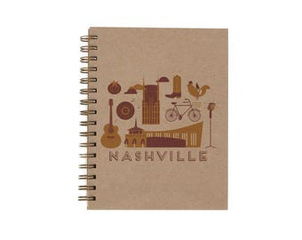 Nashville Journal - Notebook | Lined Pages | Spiral Bound | Letterpress | Hard Cover