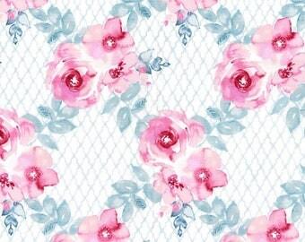 Kathy Davis Floral Trellis Premium Cotton Fabric by the yard and by the half yard