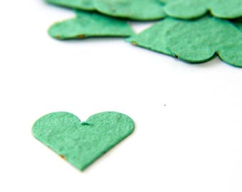 "200 Mint Green Seed Paper Hearts ""Love Grows"" Eco Wedding Favor Table Decoration Bridal Shower Favor Thank You Card Invitation Party Favor"