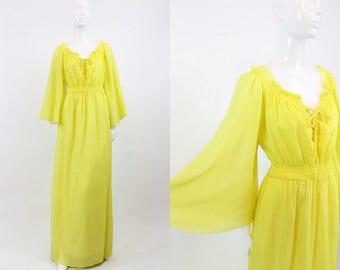 70s Dress Gauze Angel Sleeve Small Medium / 1970s Lace Up Maxi Dress /  Sunny in Philadelphia Dress