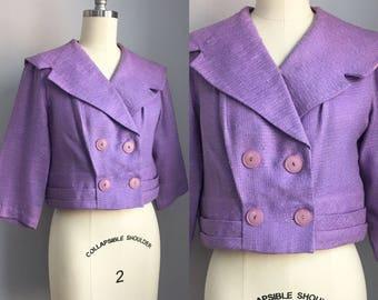 Vintage 1950s Lilac Cropped Jacket Size XS