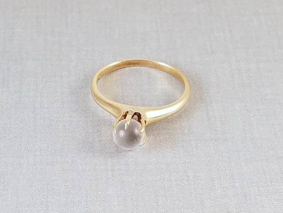 Antique Edwardian 14k gold moonstone solitaire ring, size 7