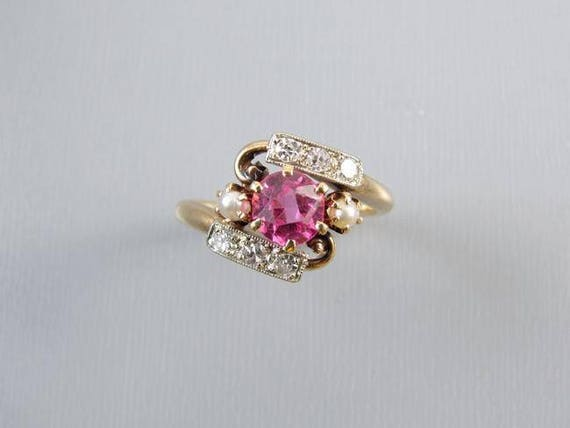 Antique Edwardian synthetic pink sapphire 14k yellow and white gold diamond seed pearl ring size 4.5, antique ring, vintage ring, pink, ring