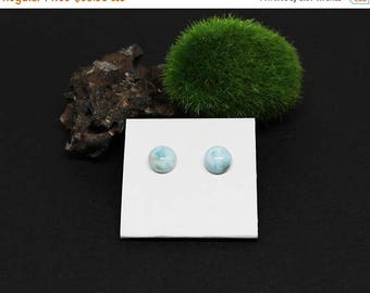 Christmas In July Sale - Sterling Silver Posts Studs, Larimar Gemstone Earrings, Light Blue Gemstone, Round Post Earrings, Simple Earrings,