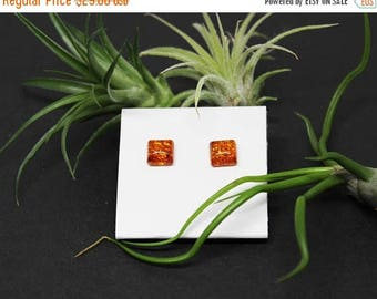 Christmas In July Sale - Amber Gemstone . 7mm Cushion Squares . Sterling Silver Posts Studs Earrings . Bright Burnt Orange . E17016
