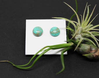 Chinese Turquoise Gemstone . 10mm Round Dome . Sterling Silver Posts Studs Earrings . Aqua Blue . Turquoise Blue . Tan Matrix . E15101