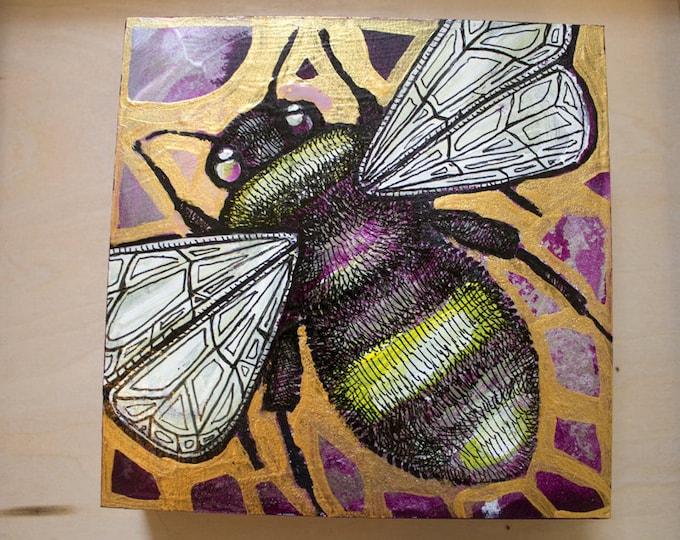 Original Bumblebee Miniature Art by Lynnette Shelley