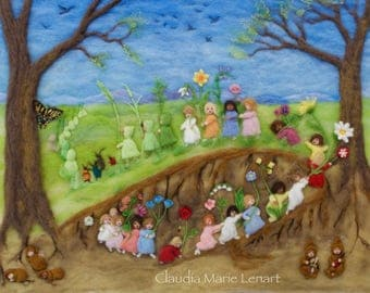 Needle Felt Wool Painting Root Children, Large Fiber Art