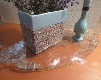 Vintage Glass Tray / Glass Handled Dresser Tray / Glass Tray / Glass Dresser Tray / Mid Century Dresser Tray
