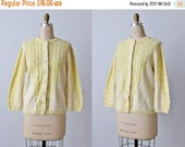 SALE Yellow Cardigan Sweater / Button Down Sweater / Cable Knit Sweater / Sweater Bee