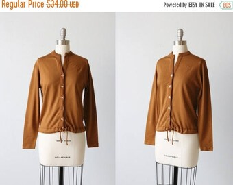 SALE Vintage 1970s Brown Givenchy Sport Cardigan Sweater / Cinch Tie Bottom