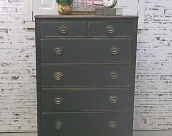 Chest of Drawers, Distressed Black Cottage Style -DR506- Shabby Vintage Farmhouse Chic, French Country
