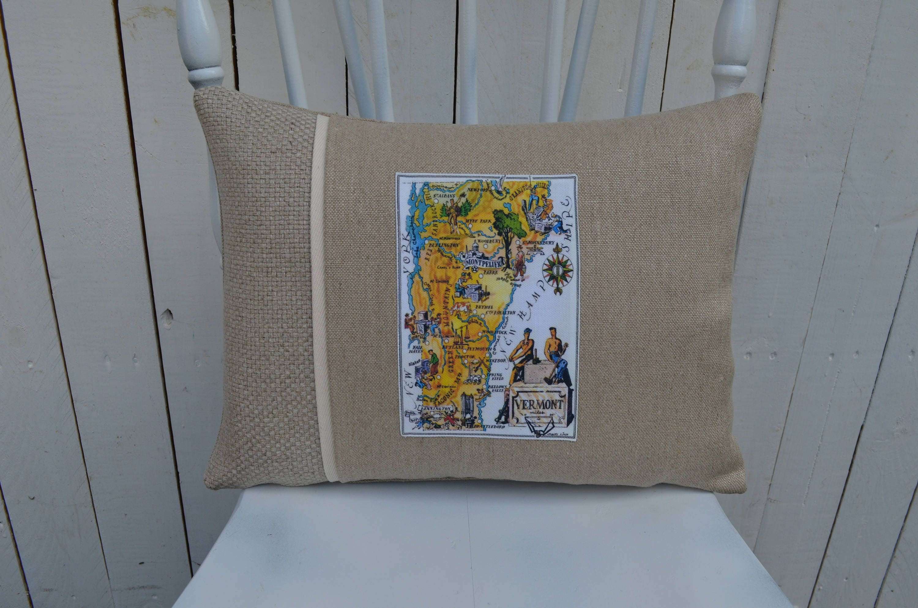 Vintage Vermont Map Pillow Available In 3