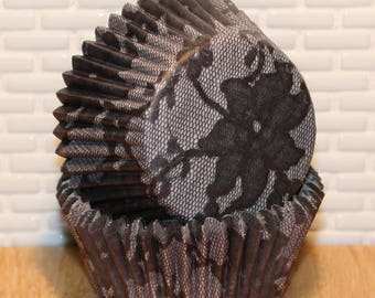 Black Elizabeth Lace Cupcake Liners by Vestli House (Qty 20) Black Elizabeth Lace Baking Cups, Black Elizabeth Cupcake Liners, Baking Cups