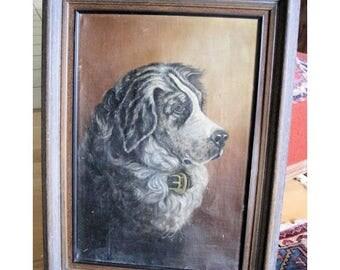 Antique Dog Oil Painting Victorian Folk Art 1800s