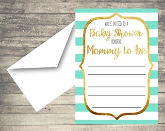 BLANK Mint Green, Gold and White Striped Baby Shower Invitation, Digital, INSTANT DOWNLOAD