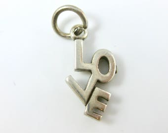 Charm, Sterling Silver, LOVE Charm, Silver Word Charm, Girl Friend Gift Idea, Large Letters, Signed Stamped