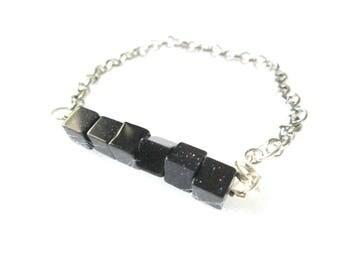 Square Purple Goldstone Bracelet