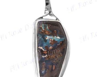 Colorful Australian Boulder Opal In Heavy 925 Sterling Silver Pendant