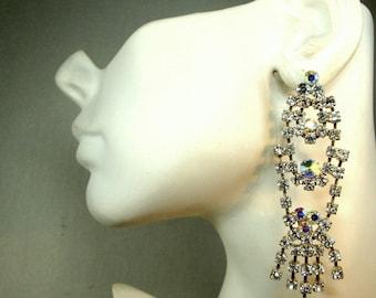 Long Rhinestone Earrings, Sparkling Aurora Borealis Rainbow Crystal Post Dangles, 1980s