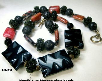 SALE,  Mysterious Black Onyx and Black Lava Stone, Pink Rhodenite Stone and Black Handblown Glass Bead Necklace, OOAK by Rachelle Starr