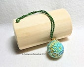 Teenie Temari Scissor/Bag Fob/Ornament -  Amime & Seed Stitch Design; Light Green, Turquosie, Green