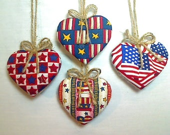 Americana Heart Ornaments | 4th of July | Patriotic Decor| Party Favor | Independence Day | Folk Art | Handmade | Americana Decor |Set/4  #3