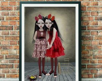 A3 Art Print - Goth Girl Art Print - Gothic Art - Goth Girls - A Deliberate Accident