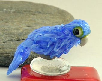 MACAW Parrot, Blue Parrot Glass Sculpture Collectible, Focal Bead, Pendant, Izzybeads SRA
