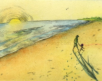 Original Artwork 4x6 Ink Drawing & Watercolor Painting -- Beach Walk