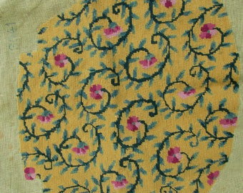 Antique Needlepoint Seat Cover with Floral Motif, Upholstery