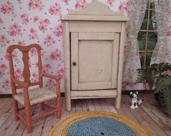 "Antique German Dollhouse Furniture - Bedroom Wardrobe Kitchen Cupboard - Large 1"" Scale"