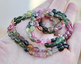 "Gem Watermelon Pink Green Tourmaline Smooth Oval Nugget Beads 30beads 7"" or 60 beads 14"" strand"
