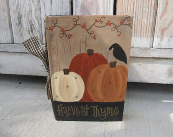 Primitive Autumn Fall Pumpkins and Bittersweet Hand Painted Vintage Book GCC3662