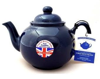 COBALT BLUE 8 Cup Brown Betty Teapot