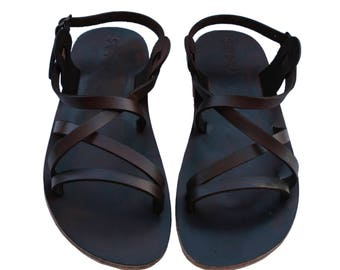 CLEARANCE SALE - Brown Star Leather Sandals - All Leather Sole  - Euro # 39 - Handmade Unisex Sandals, Genuine Leather, Sale