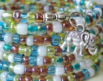 Seed Bead Wrap Bracelet - Silver color Elephant charms - Multi color beads - Boho chic - Bohemian cuff - Memory wire - bycat