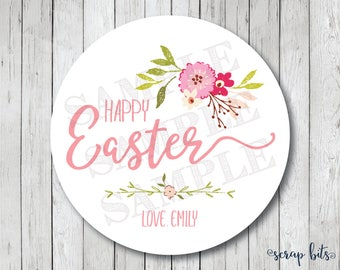 Personalized Happy Easter Stickers, Watercolor Floral Easter Tags, Happy Easter Labels, Spring Flowers