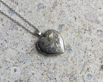 Vintage silver heart locket, engraved locket, FREE UK SHIPPING